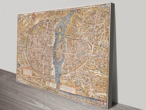 Buy a Ready to Hang Map Print of Paris