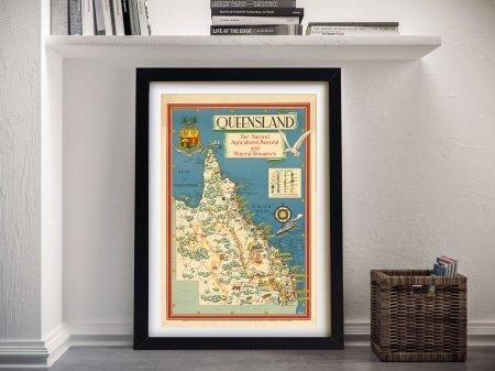 Buy a Vintage Framed Map of Queensland