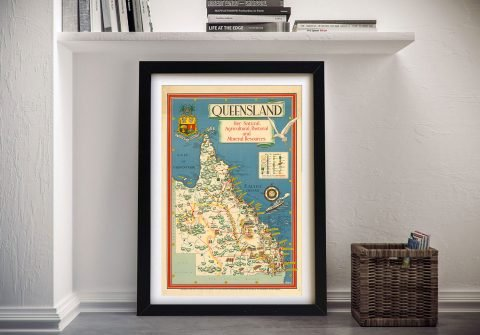 Buy a Vintage Framed Map of Queensland
