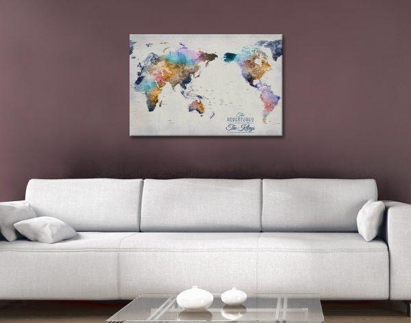 Australia Centric Multi-colored Map Canvas Artwork
