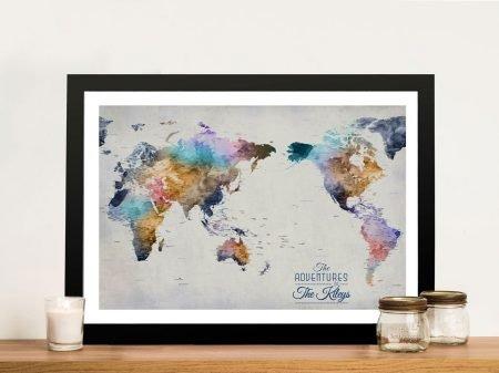 Dusky Tones Australia-Centred WorldPin Map