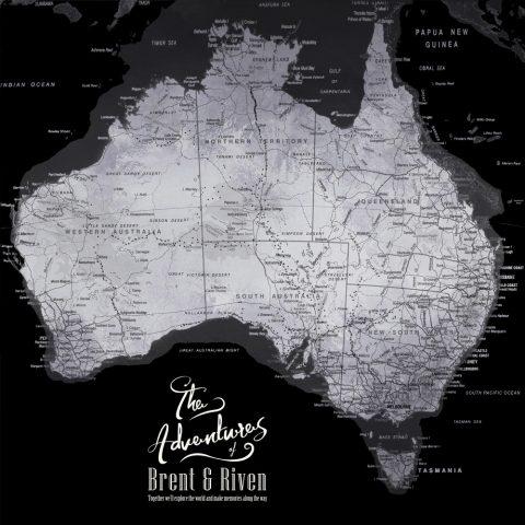 Buy a Silver & Black Map of Australia Online