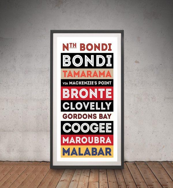 Bondi Retro Tram Banner Framed Wall Art