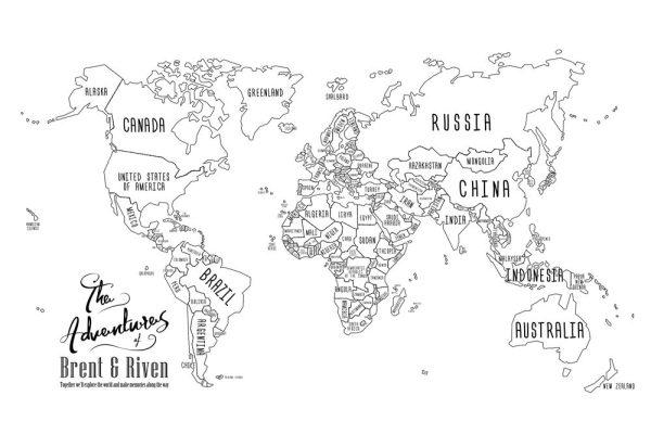 Chalkboard Push Pin World Map