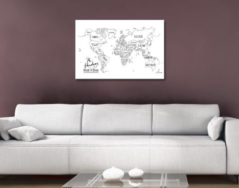 White Chalkboard Push Pin Map Wall Art Online