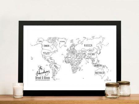Buy Personalised White Chalkboard Push Pin Map