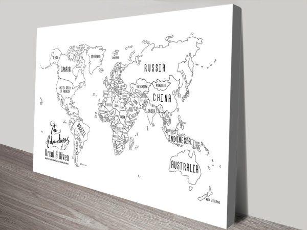 Chalkboard World Map canvas print