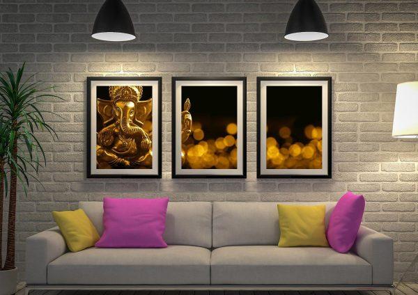 Buy Lord Ganesha 3-Panel Framed Wall Art