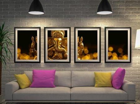 Buy a Lord Ganesha Four Piece Canvas Art Set
