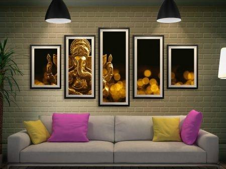 Buy a Lord Ganesha 5-Panel Framed Art Set