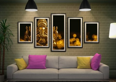 Buy a Lord Ganesha 5-Panel Framed Art Set