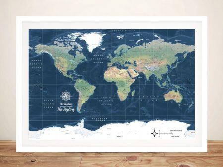 Dark Blue Miller Physical World Map Wall Art