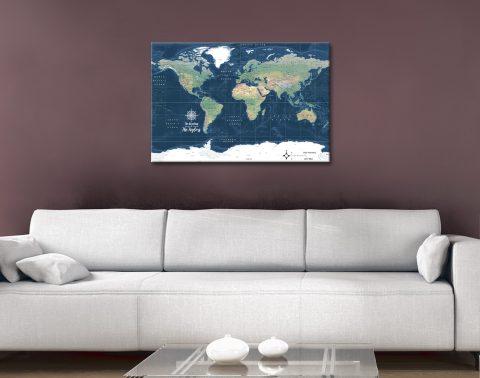 Buy a Dark Blue World Map Gift Ideas AU