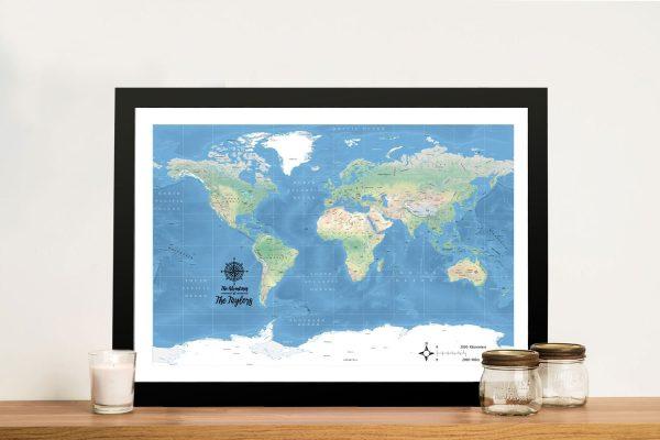 Buy Custom World Map Framed Canvas Wall Art