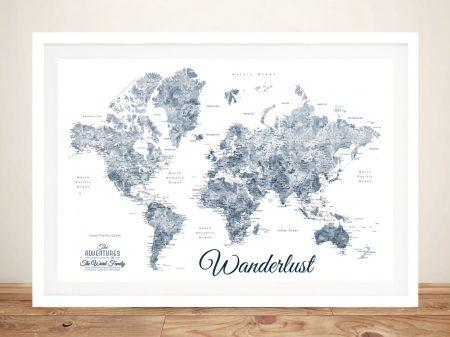 Buy Wanderlust Blue & White World Map Art
