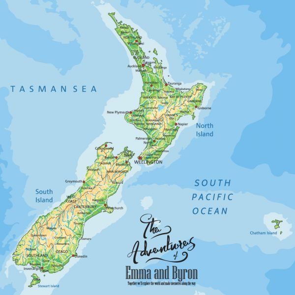 Personalised New Zealand Pinboard Map