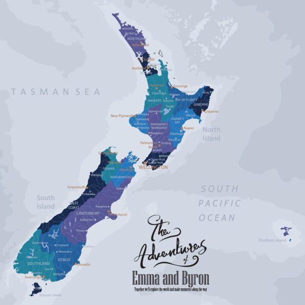 New Zealand Push Pinboard Map