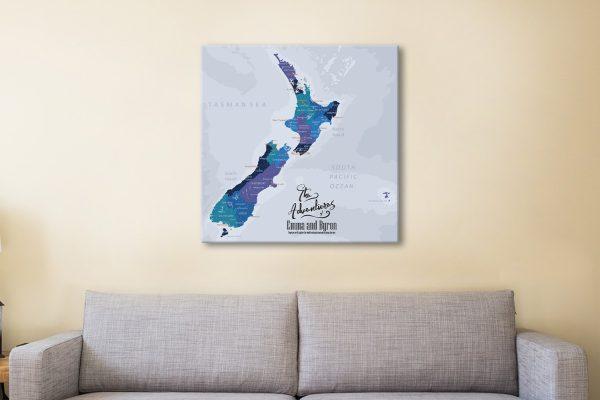 New Zealand Pinboard Map Art