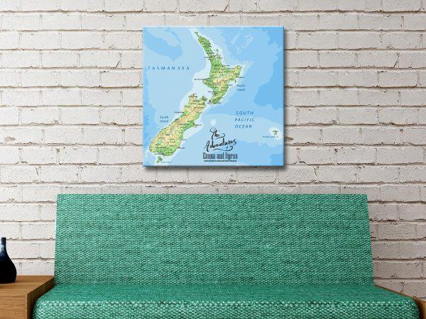 New Zealand Map Canvas Artwork