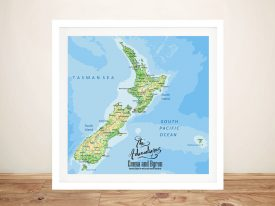 New Zealand Push Pin Map Framed Wall Art