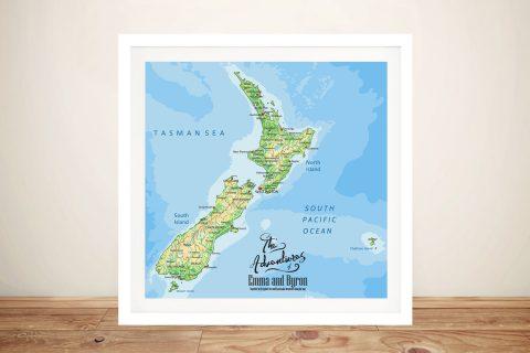 New Zealand Push Pin Map Framed Wall Art