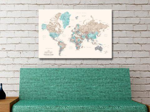 Buy Ready to Hang Pastel Pushpin Maps AU