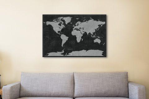 Buy a Custom Rustic Black World Map Cheap Online