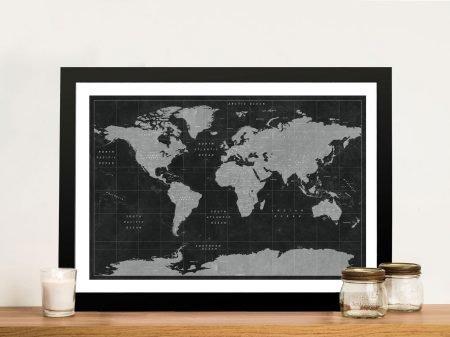 Buy a Black & White Custom Push Pin Map