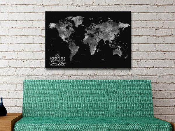 Buy Unique Black & Silver World Map Art