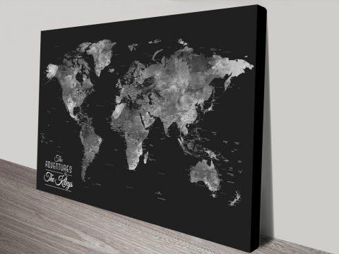 Buy Wanderlust Black & Silver World Map