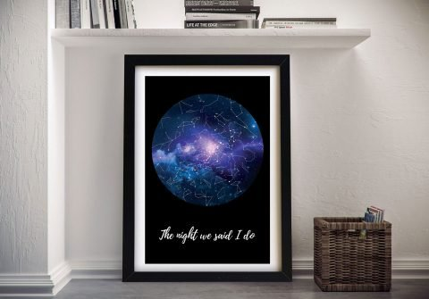 Blue Cosmos Custom Star Map‎ Art