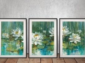 Buy Water Lily Pond Canvas Triptych Art