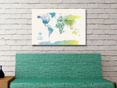Buy Yellow & Green Custom Map Artwork AU