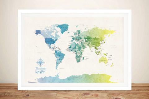 Buy a Watercolour World Map Cheap Online