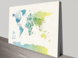 Buy a Political World Map in Watercolour Tones