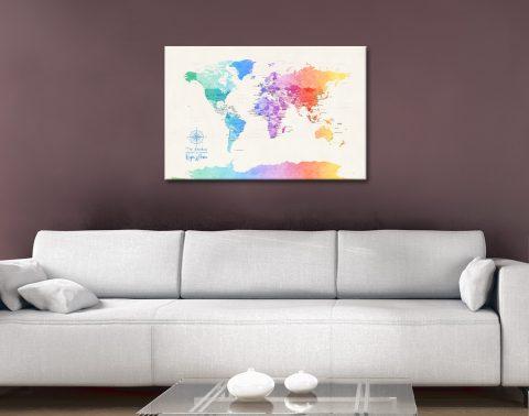 Buy Watercolour Maps in a Minimalist Design AU
