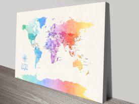 Buy Colourful Minimal Framed Map Art