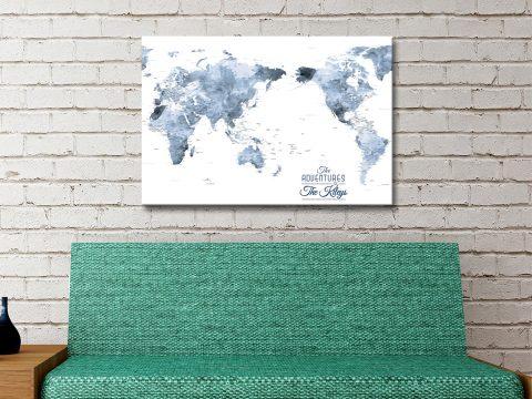 Custom Australia Centred Watercolour World Map Art