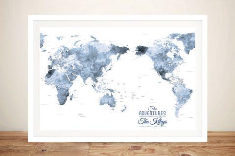 Dark Blue Australia Centred Watercolour World Map