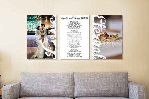 3 piece wedding vows canvas