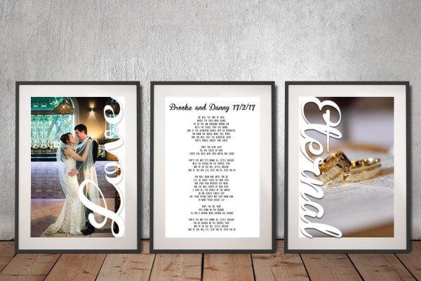 3 piece wedding vows wall art
