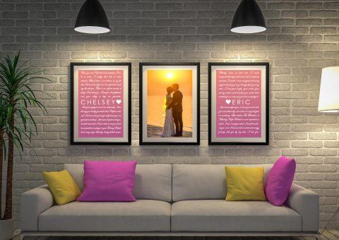 Three Piece Marriage Vows Art Gift