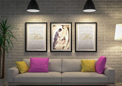 Personalised 3-Piece Wedding Vows Art