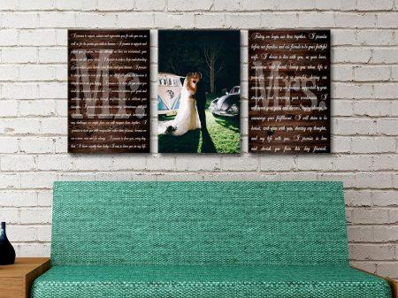 Three Piece Wedding Vows Art Gift