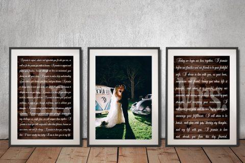 3 Piece Framed Wedding Vows Artwork