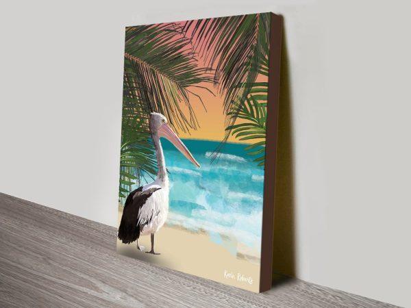Buy Pelican on the Beach Canvas Wall Art