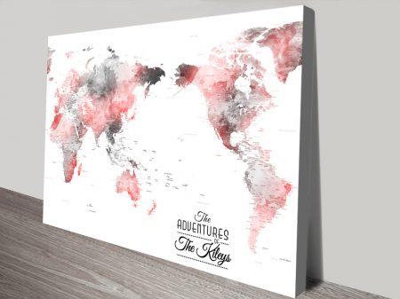 Buy Australia Centric Grey & Red Map Art