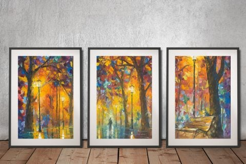 Buy Bench of Patience 3-Piece Afremov Wall Art