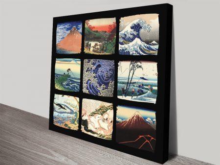 Buy a Canvas Hokusai Collage Wall Art Print