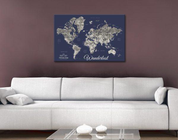 Buy Ready to Hang Navy Blue Push Pin Map Art